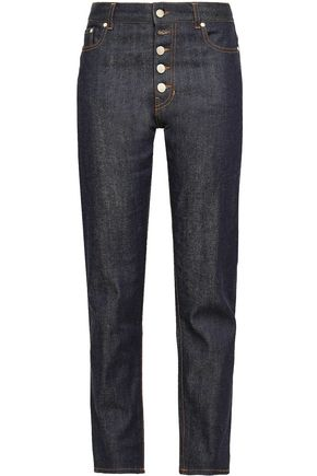 JOSEPH Den button-detailed high-rise straight-leg jeans