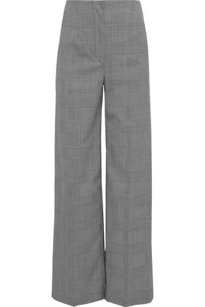 PROENZA SCHOULER Buckle-detailed houndstooth stretch-wool wide-leg pants