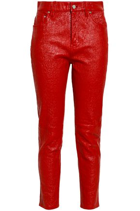 DEREK LAM 10 CROSBY Cropped crinkled patent-leather slim-leg pants