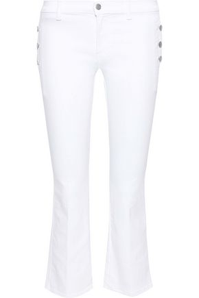 J BRAND Button-detailed mid-rise kick-flare jeans
