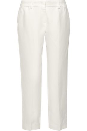 MAX MARA Cosmos cropped linen-blend twill tapered pants