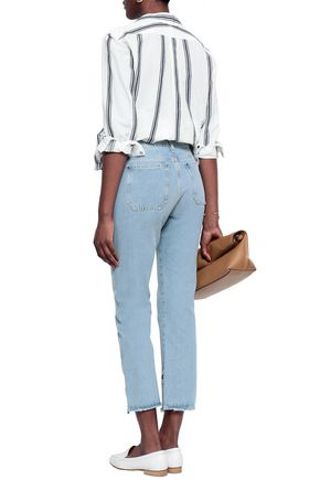 M.I.H JEANS Cropped distressed mid-rise straight-leg jeans