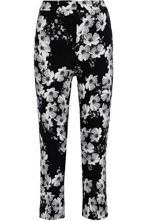 ERDEM Gianna cropped floral-print crepe slim-leg pants
