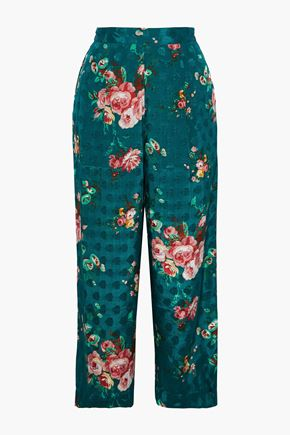 W118 by WALTER BAKER Jeanette cropped floral-print jacquard wide-leg pants
