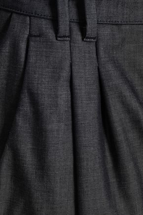 EMPORIO ARMANI Cotton-chambray straight-leg pants