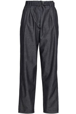 EMPORIO ARMANI Cotton-chambray straight-leg pants