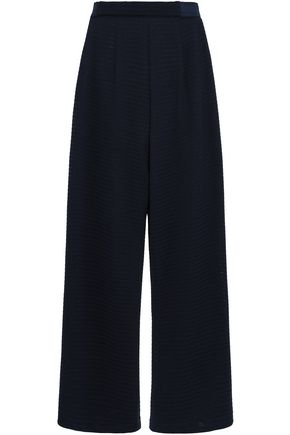 EMPORIO ARMANI Pointelle-knit wide-leg pants