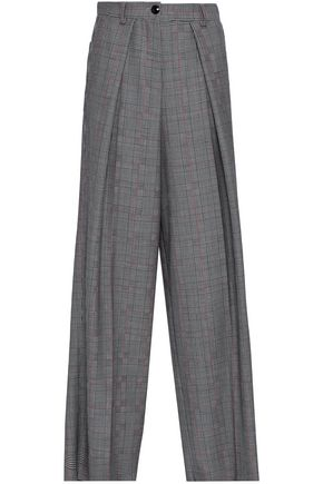EMPORIO ARMANI Prince of Wales checked wool and mohair-blend wide-leg pants