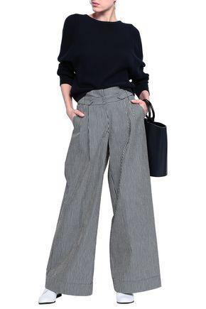 EMPORIO ARMANI Striped cotton-blend seersucker wide-leg pants