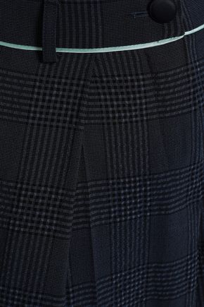 EMPORIO ARMANI Prince of Wales checked wool-blend seersucker wide-leg pants