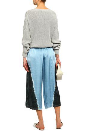RAQUEL ALLEGRA Cropped tie-dyed silk-satin wide-leg pants