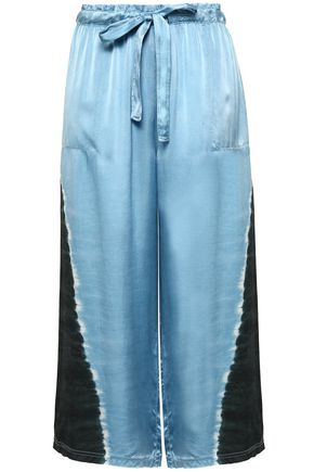 RAQUEL ALLEGRA Cropped tie-dyed silk-satin wide-leg pants