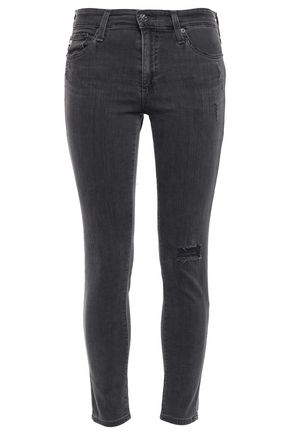 AG JEANS Distressed mid-rise skinny pants