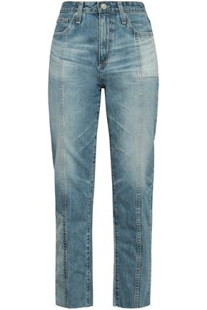 AG JEANS Patchwork-effect faded high-rise tapered jeans