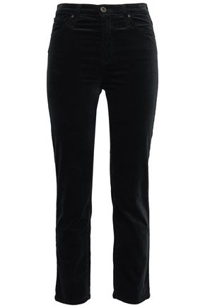 AG JEANS Cropped cotton-blend velvet straight-leg pants