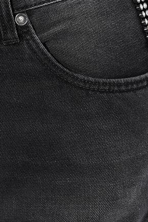 CHRISTOPHER KANE Crystal-embellished high-rise straight-leg jeans