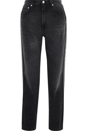 CHRISTOPHER KANE Crystal-embellished high-rise straight-leg jeans