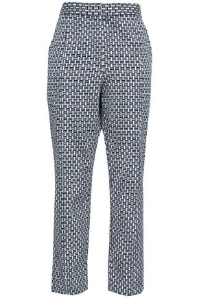 TORY BURCH Printed cotton-blend slim-leg pants