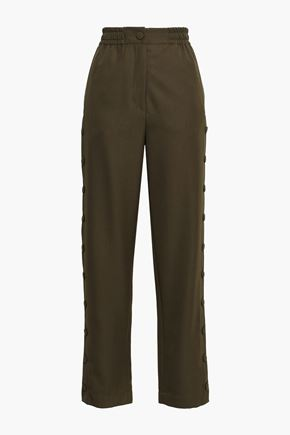 JOSEPH Odon snap-detailed twill straight-leg pants