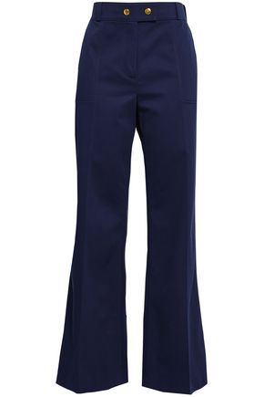 TORY BURCH Maddie cotton-blend piqué wide-leg pants