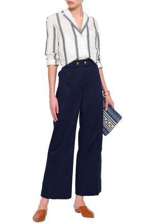 TORY BURCH Maddie cotton-blend piqué wide-leg pants