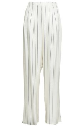 GIORGIO ARMANI Pinstriped sateen wide-leg pants