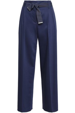 GIORGIO ARMANI Belted stretch wool and silk-blend wide-leg pants