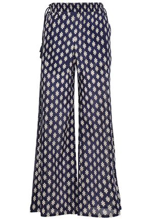 TORY BURCH Tasseled printed cotton wide-leg pants