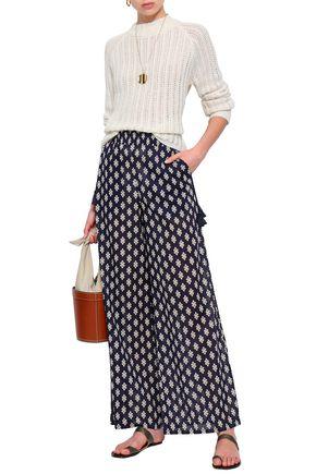 TORY BURCH Tasseled printed cotton wide-leg pants