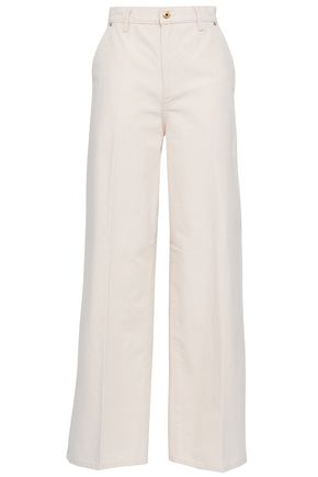 TORY BURCH Caroline cotton-canvas wide-leg pants