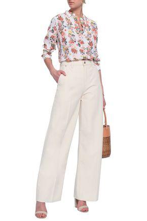 TORY BURCH Caroline cotton-canvas wide-leg pants