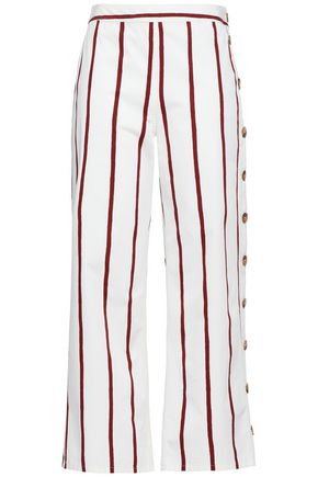 M.I.H JEANS Button-detailed striped cotton-blend twill wide-leg pants