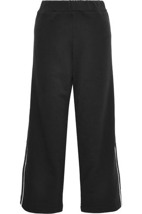 CHRISTOPHER KANE Cropped crystal-embellished French cotton-terry track pants