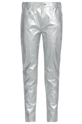 RAG & BONE Metallic cracked-leather tapered pants