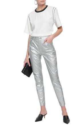 RAG & BONE Metallic cracked-leather tapered pants