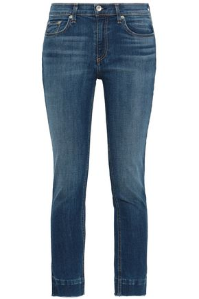 RAG & BONE Cropped faded mid-rise skinny jeans