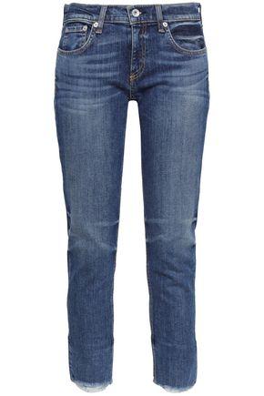RAG & BONE Cropped frayed low-rise skinny jeans