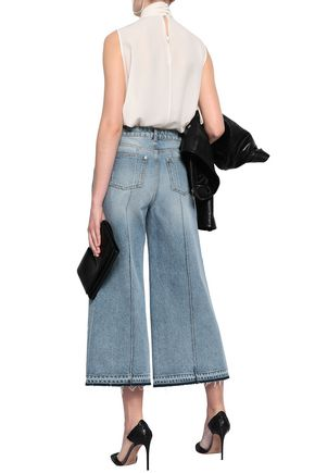 ALEXANDER MCQUEEN Leather-trimmed faded high-rise wide-leg jeans
