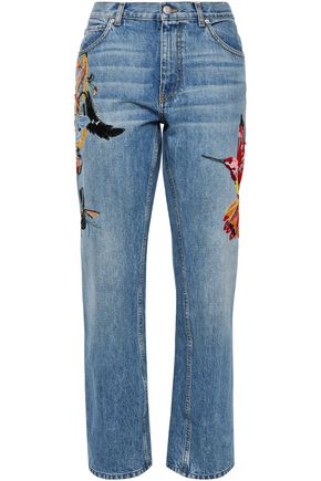 ALEXANDER MCQUEEN Embellished embroidered high-rise straight-leg jeans