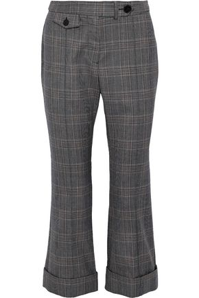DEREK LAM 10 CROSBY Cropped checked jacquard bootcut pants