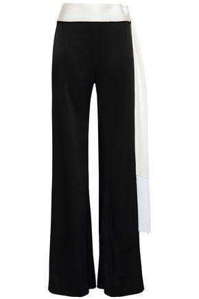 GALVAN  London Vesper fringe-trimmed belted woven wide-leg pants