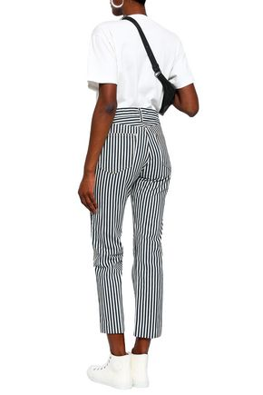 RAG & BONE Striped high-rise straight-leg jeans