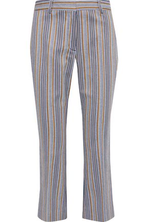 DEREK LAM 10 CROSBY Cropped striped cotton-blend twill straight-leg pants