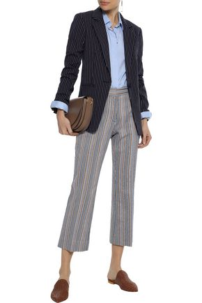 DEREK LAM 10 CROSBY Cropped striped cotton-blend twill kick-flare pants