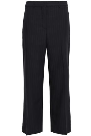 PORTS 1961 Cropped pinstriped wool-blend wide-leg pants