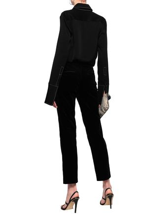 THEORY Cotton-blend velvet and crepe de chine straight-leg pants
