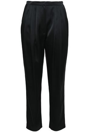 PHILOSOPHY di LORENZO SERAFINI Cropped pleated satin tapered pants