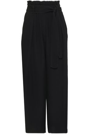 FORTE_FORTE Belted ruffle-trimmed crepe wide-leg pants