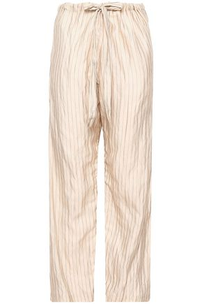 FORTE_FORTE Metallic pinstriped cotton-blend wide-leg pants