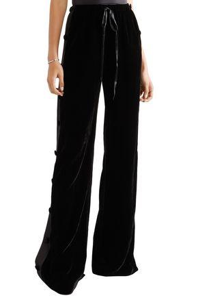 NAEEM KHAN Satin-paneled velvet wide-leg pants